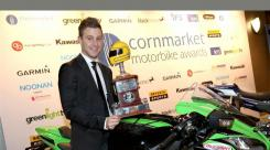 SBK - Jonathan Rea receives the Joey Dunlop Trophy at the 2016 Irish Racer Awards.