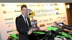 SBK - Jonathan Rea receives the Joey Dunlop Trophy at the 2016 Irish Racer Awards.