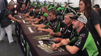 Jonathan Rea signing autographs with Tom Sykes, Eddie Lawson, Scott Russell, Eli Tomac, Austin Forkner and Jett Reynolds
